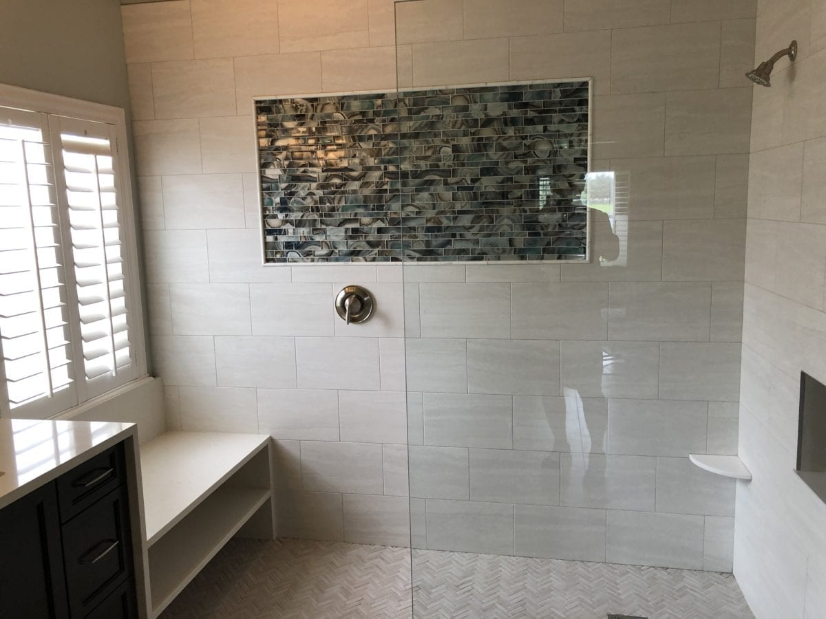 Glass and tile shower