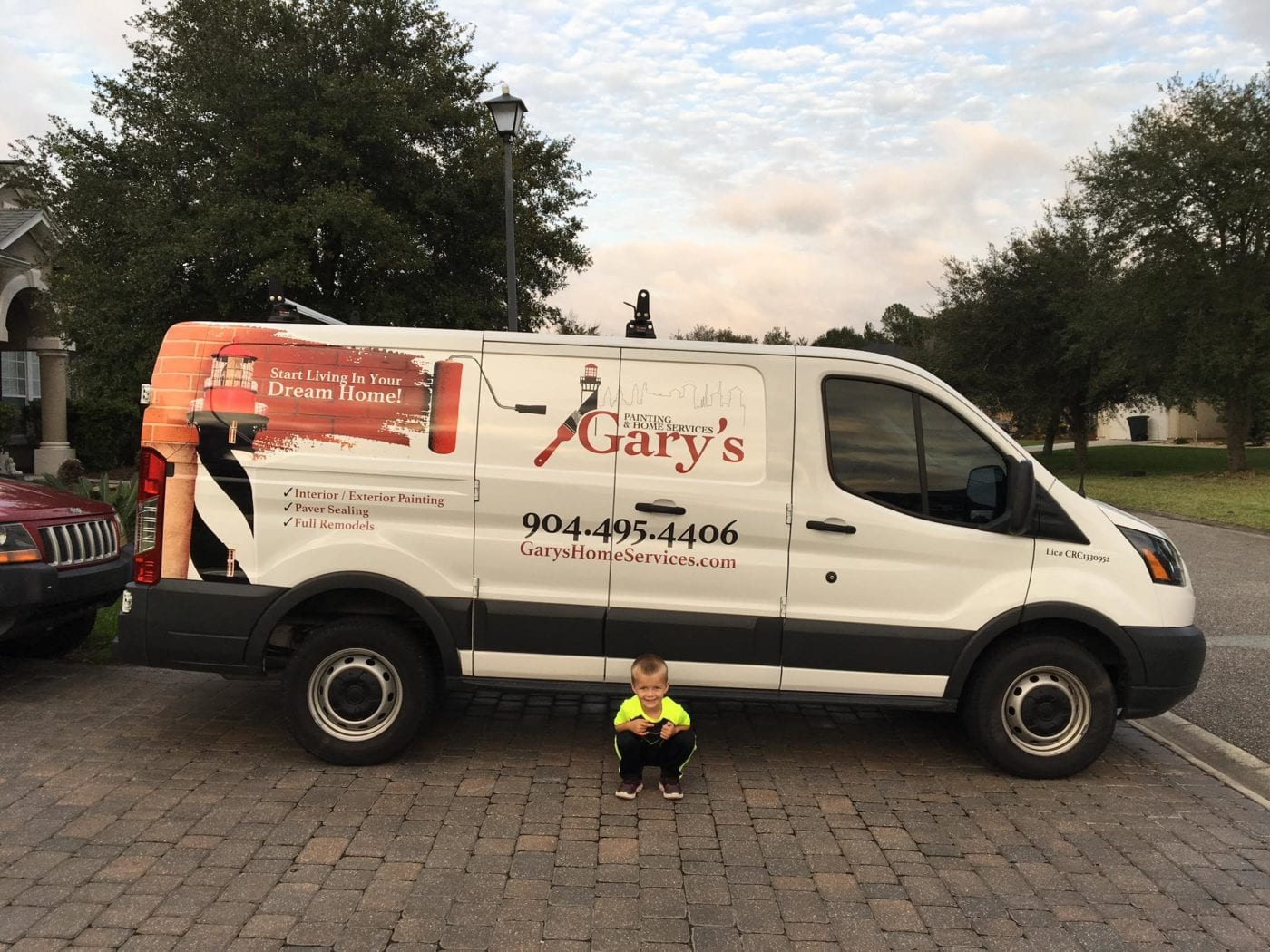 Gary's Painting Truck with Gary's son in front